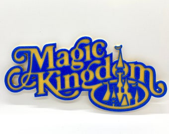 Retro Magic Kingdom Inspired Sign (Blue and Gold)