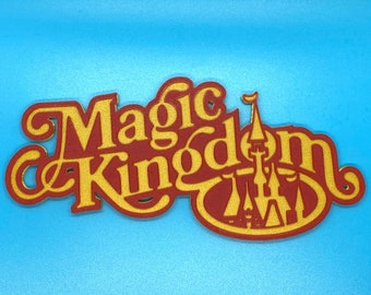 Retro Magic Kingdom Inspired Sign (Red and Gold)
