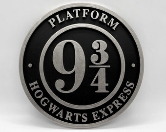 Platform 9 3/4 Inspired Plaque (Silver and Black)