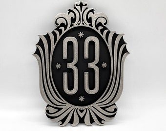 Disneyland Club 33 Inspired Plaque (Silver and Black)