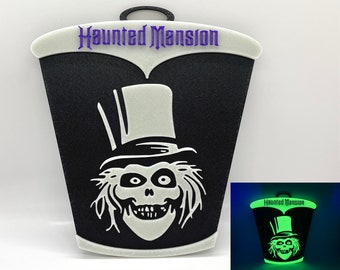 Glow in the Dark Haunted Mansion Hatbox Ghost Inspired Sign