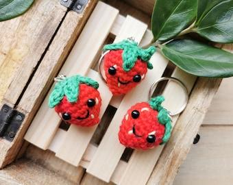 Cute Strawberry Keychain, Kawaii Fruit, Squishy Amigurumi Fruit, Kawaii Bag Charm, Mini Fruit Plush Toy, Colorful, Handmade, Unique