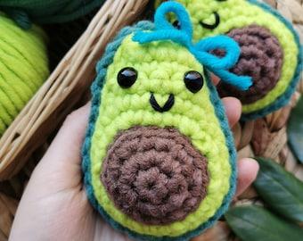 Squishy Avocado Plushie, Kawaii Avocado Toy, Chubby Amigurumi Fruit, Cute Fruit Plush, Anxiety Relief Plushie