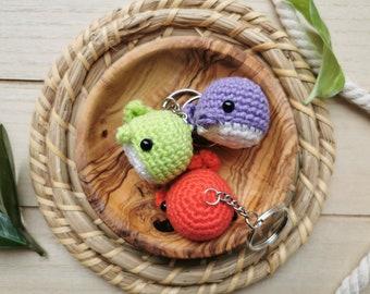 Whale Keychain, Mini Chubby Whale, Kawaii Sea Creature, Squishy Amigurumi Animal, Charm, Soft Crochet Yarn Plushie, Ocean, Water, Cute