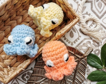 Squishy Octopus Plush, Chubby Octopus Plushie, Kawaii Sea Creature, Amigurumi Animal, Cute Squid Toy, Soft Crochet Yarn, Ocean Doll, Pastel
