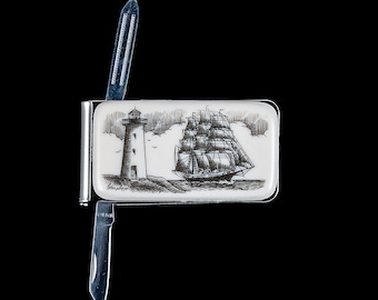 Scrimshaw Spring Money Clip Money Clip Etched Eco Ivory Resin Etched Ship and Whale Round Spring Money Clip F/&F Inc