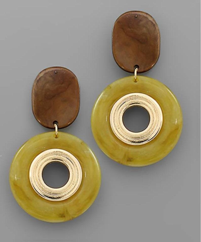 Acrylic oval circle earrings