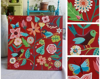 floral pattern on red background