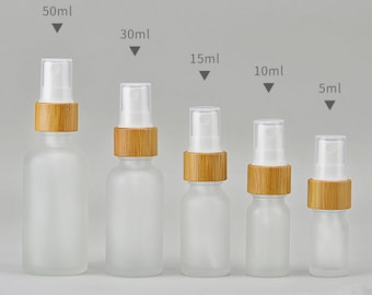 Glass Bamboo Fine Mist Spray Bottles, Essential Oil Spray Bottles 5ml 10ml 15ml 30ml 50ml, frosted glass Wholesale, DIY Packaging
