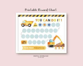 Printable Construction Reward Chart, Sticker Chart, Instant Download Reward Chart, Kids Reward Chart, Potty Training Chart for Boys