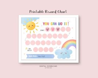 Printable Rainbow Reward Chart, Girl's Sticker Chart, Instant Download Reward Chart, Toddler Reward Chart, Potty Training Chart, Sunshine