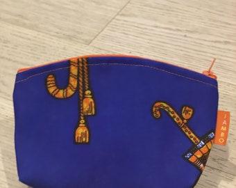 Chitenge Make Up Bags-Blue Circles