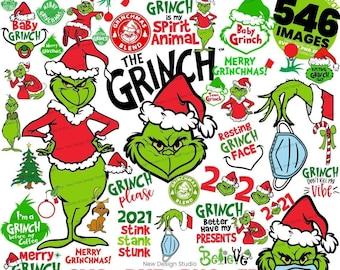 Christmas svg bundle, grinch svg, grinch face svg, grinch mask, grinch baby, dxf, png, santa, shirt, Cricut, cut file, hand holding ornament