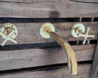 Brass Wall Mounted Bathroom Faucet + Brass Cross Handles - Handmade  Wall MountFaucet