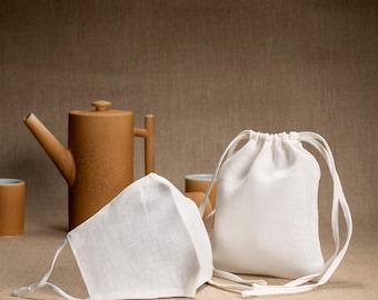 White linen face mask, mask w/ filter pocket nose wire & adjustable ear loops, washable 100% linen BREATHABLE comfy mask + bag included