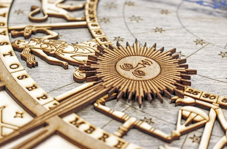 Venice Wood Astronomical Clock, Horloge en bois, Art du bois, Horloge design, Décor mural design, Décor d'horloge, horloge multicouche,