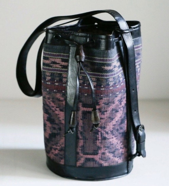 Balinese Leather & Tapestry Bucket Bag
