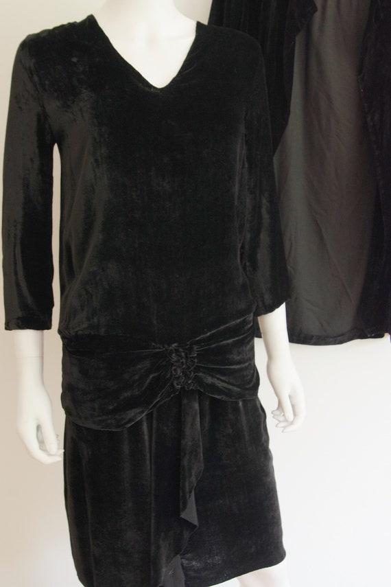 1920s Black Silk Velvet Dress and Jacket - image 2