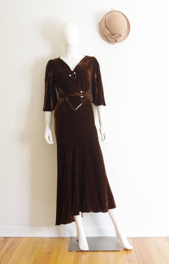 1930s Brown Silk Velvet Evening Gown