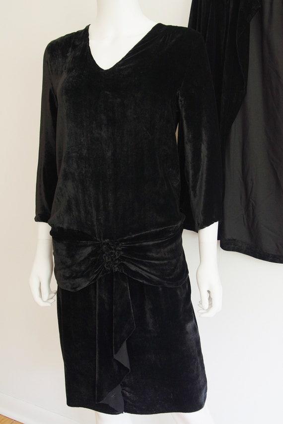 1920s Black Silk Velvet Dress and Jacket - image 3