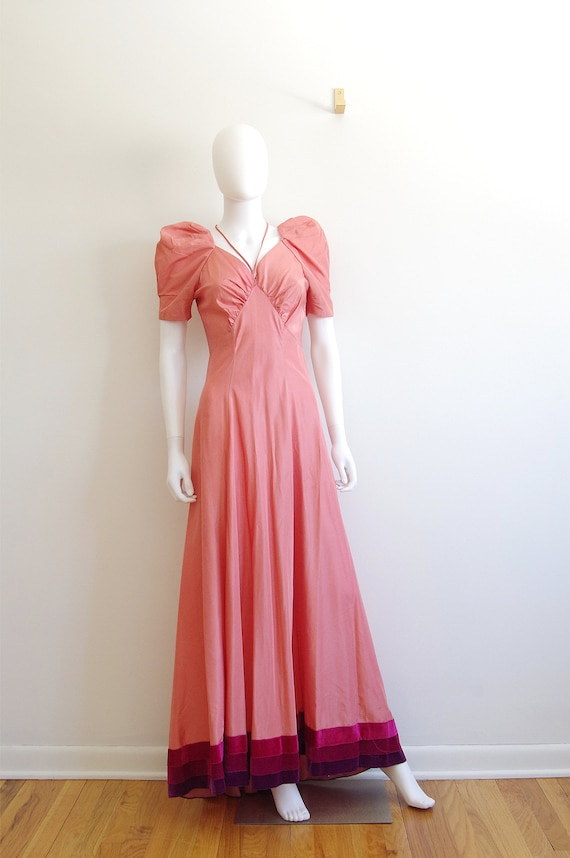 1940s Evening Gown with Velvet Trim