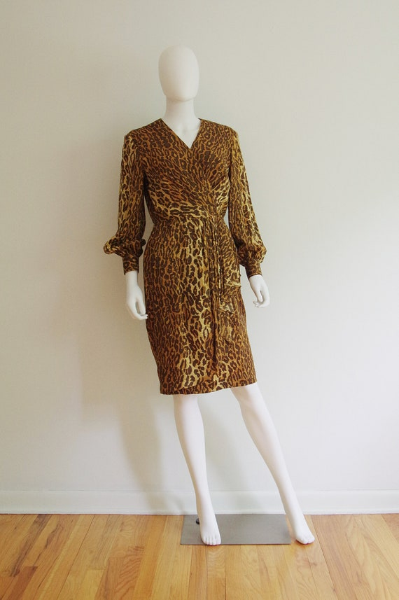 1990s Gillian Silk Animal Print Wrap Style Dress