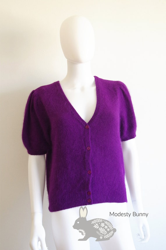 1980s Purple Short Sleeve Cardigan