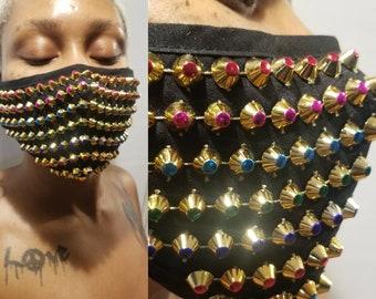 Studded Mask Jeweled Face Mask With Filter Pocket Nose Wire Bling Mask Adjustable Earloops Club Mask NightLife Wholesale Burning Man