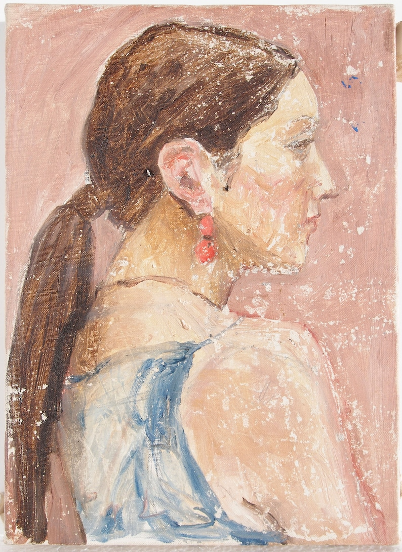 A profile of a female Near 9x12 size Oil Painting
