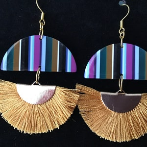 Lightweight Acetate Half Circles in Black Window Confetti with White Faux Suede Fringe and 22K Gold Kidney Wire Drops