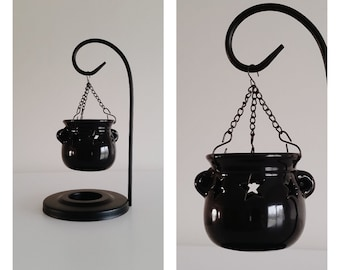 Hanging Cauldron Oil/Wax Burner Cut Out Stars | Witchcraft, Witch, Wiccan, Wicca, Goth, Gothic