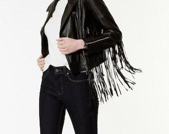 Black Faux Leather Tassel  Fringe Trim Bomber Jacket