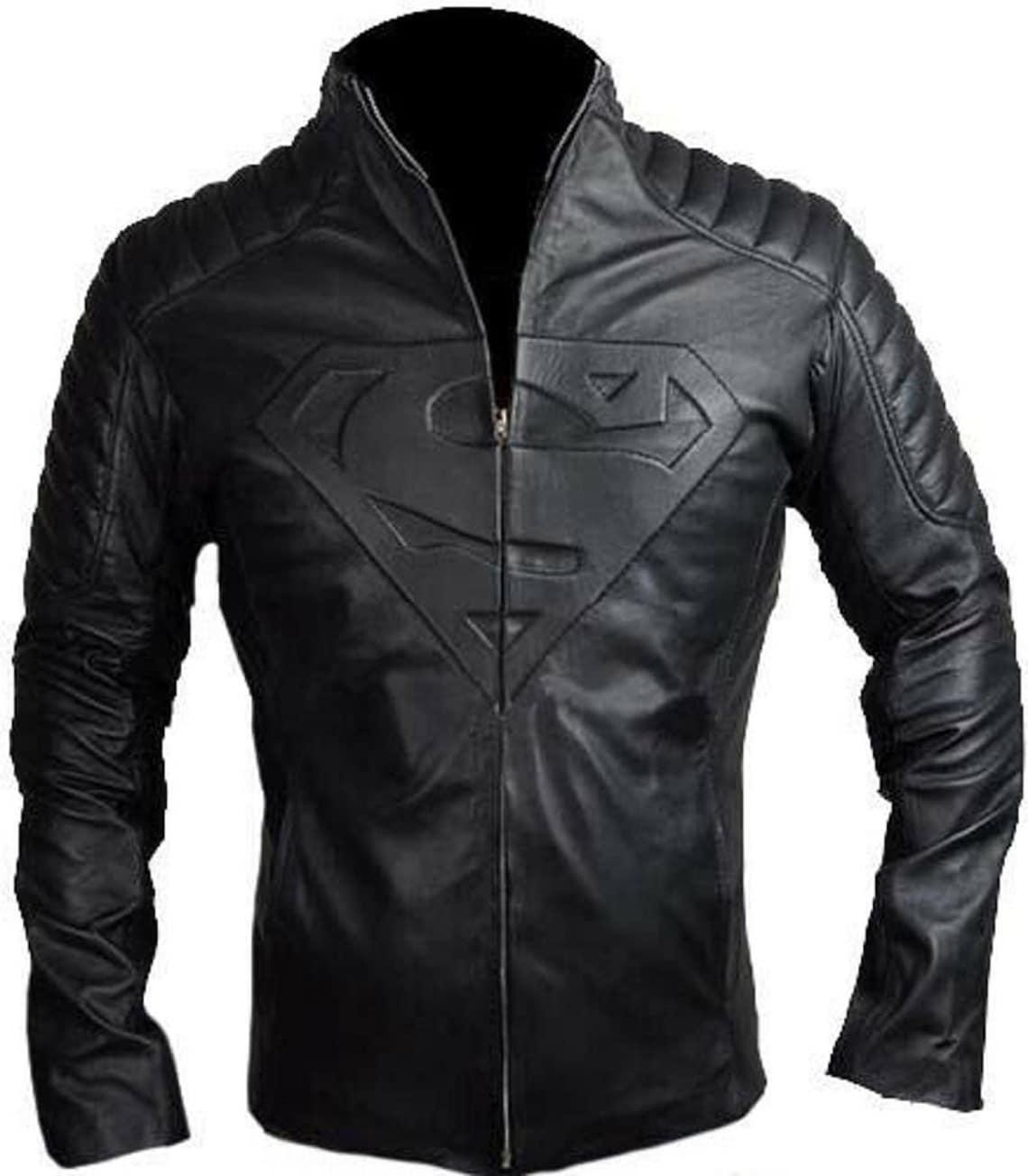 100% Real New Superman Luxury Durable Genuine Leather Lambskin Sheepskin Coat Black Motorcycle Biker Jacket With Zipper Collar Up Sl18