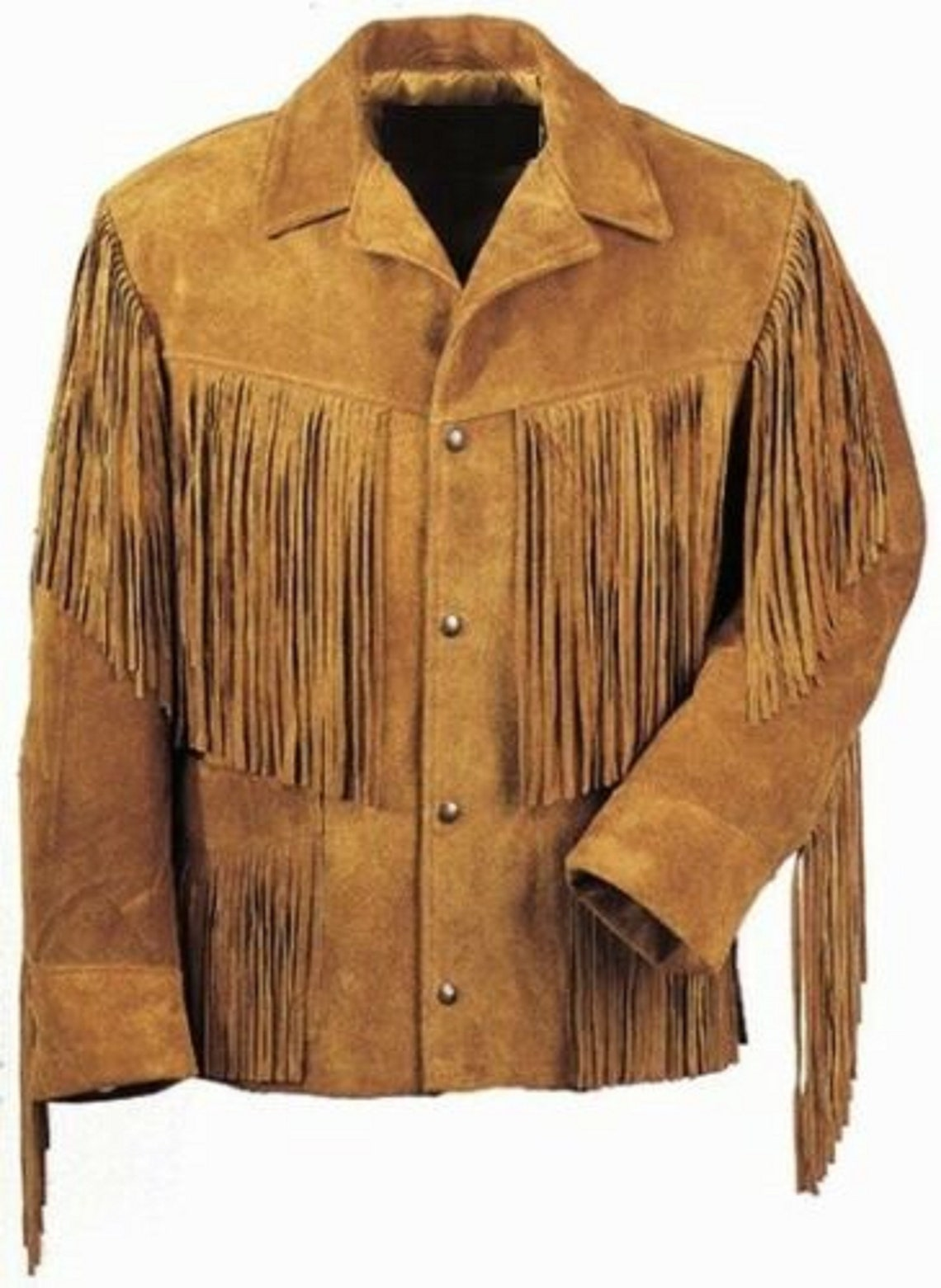 100% Real Man's Fringe Style Western Jacket Native American Brown Tan Suede Leather Outerwear Cowboy With Sp54