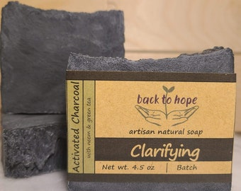 Activated Charcoal Bar - vegan, gluten-free, all-natural luxury soap for acne, eczema, psoriasis, and detoxifying