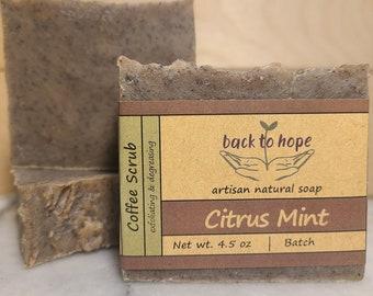 Coffee Scrub Bar - vegan, gluten-free, all-natural luxury soap for gardeners, mechanics, and exfoliating