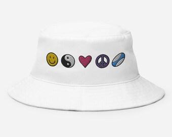 Happiness Zen Love Peace Rugby Nineties Bucket Hat