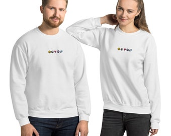 Happiness Zen Love Peace Rugby Nineties Embroidered Unisex Sweatshirt
