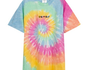 Happiness Zen Love Peace Rugby Nineties Embroidered Oversized tie-dye t-shirt
