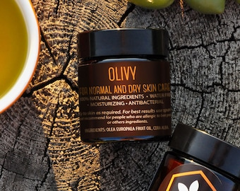 OLIVY 100% ORGANIC Skin-Face Cream. Redness and Pain Relief/Facial Cream/Natural Face Moisturizer/Anti-Inflammatory/Olive Oil/Cruelty-Free