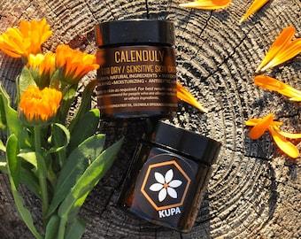 CALENDULY natural face cream. Anti-Aging Organic Cream/Rejuvenating Face Moisturizer/Zero Waste Lotion/Sensitive Skin Care/Facial Cream