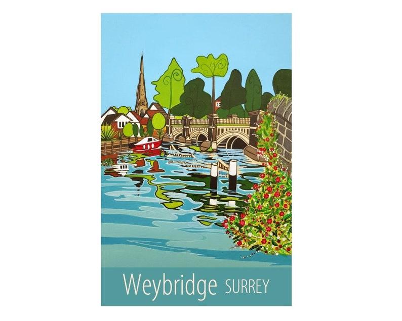 Britain UK Weybridge Surrey travel poster print by Susie West signed wall art print England