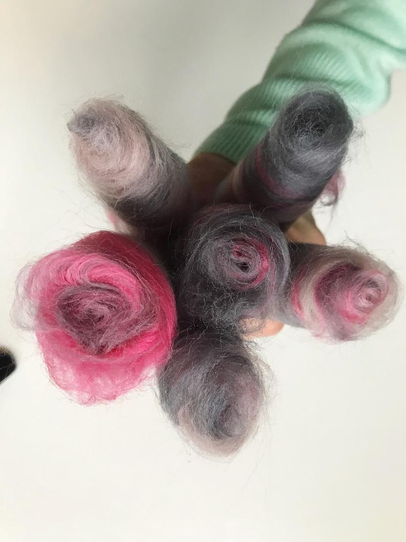 Pink and Grey blend Merino Wool Rolags  Spinning Fibre  Art Yarn  Art Batts  Spinning Batts  Spinning Yarn Handspun YarnYarn Spinning