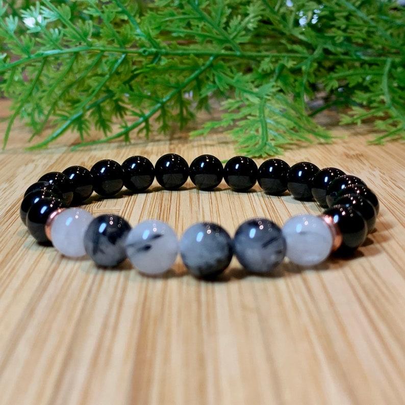 AA Black Tourmaline /&  Rutilated Quartz bracelet 6 8.3 mm stone energizing bracelet men mala healing bracelet unisex mala protection