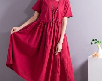A-line Loose Summer Linen Dress Soft Cotton Linen Maxi Dress Casual Oversized Dress Plus Size Linen Plus Size Dress Plus Size Clothing