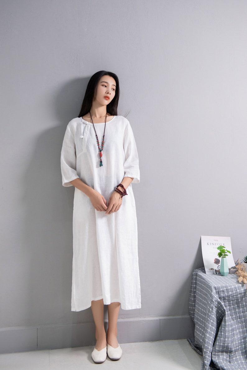 Retro Loose Linen Dress Soft Cotton Linen Maxi Dress Casual Oversized Dress Plus Size Linen Plus Size Dress Plus Size Clothing Linen Robes