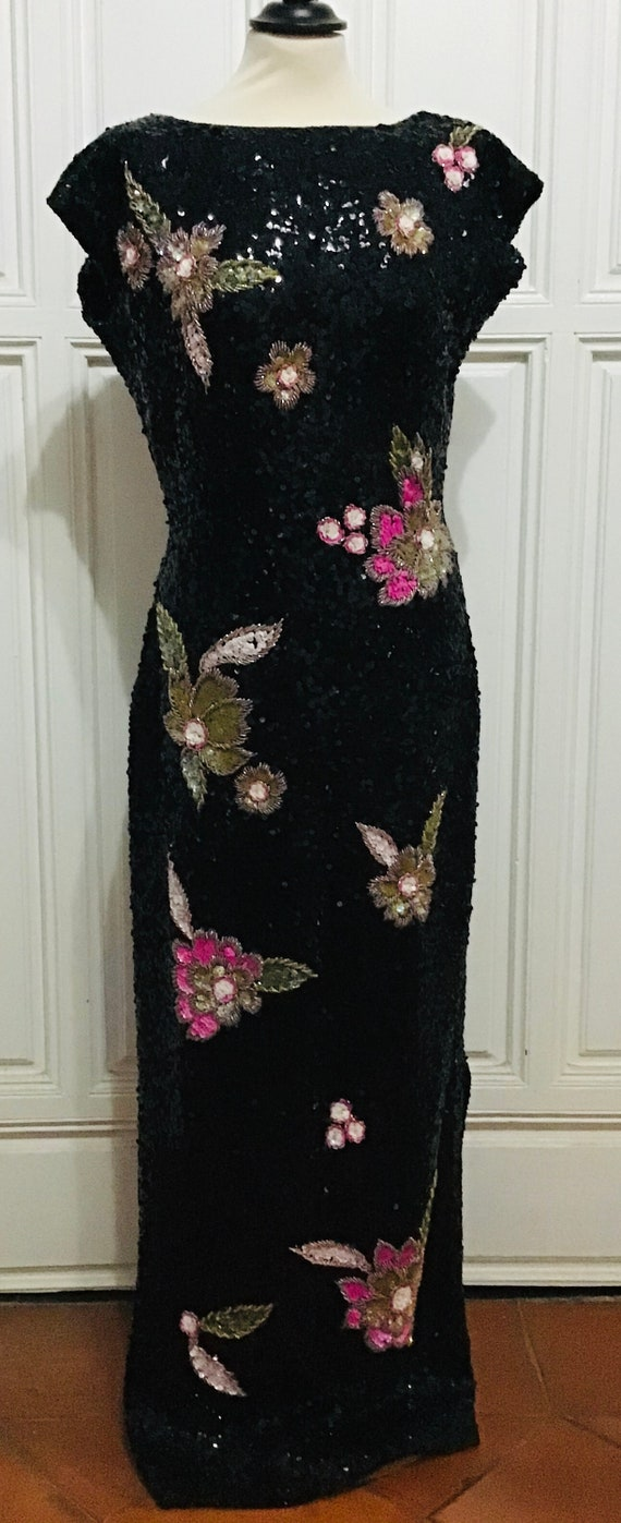 Incredible 80s evening sequined dress