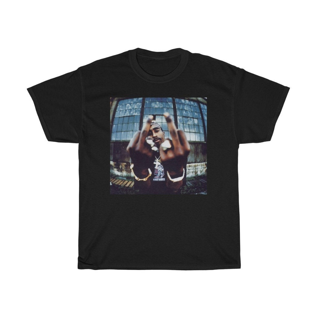 2PAC MIDDLE FINGER OFFICIALLY LICENSED ADULT UNISEX T-SHIRT TUPAC