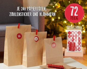 Advent calendar for filling, DIY advent calendar: 24 x bags in three sizes, 24 x wooden clips and 24 x stickers