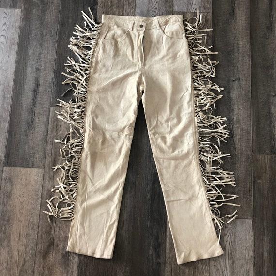 Vintage 80s small fringe leather pants